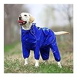 XHDD ペット犬のレインコート反射防水ジッパー服ハイネックのフード付きジャンプスーツのために小大犬オーバーオールレインマントラブラドール (Color : Blue, Size : 16)
