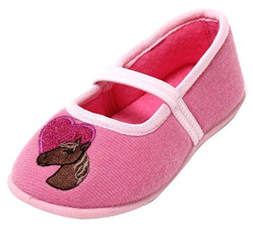ZAPATO EUROPE meisjes ballerina slippers met elastiek roze motief paard en hart maat 26-29