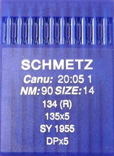 Agujas de coser a máquina Schmetz redondas, 10 unidades, sistema 134(R), Industrie St. 90