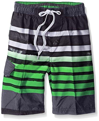 Kanu Surf Boys' Big Quick Dry UPF 50+ Beach Swim Trunk, Reflection Black/Green, 14/16