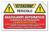 Cartello adesivo'Attenzione Basculante Automatico comandato elettricamente'