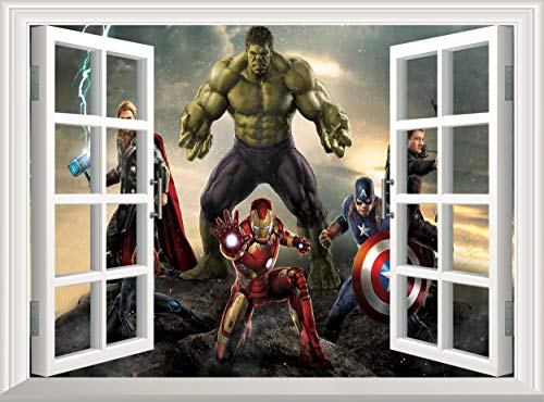Marvel Avengers Superhero 3D Window Wall Sticker Removable Wall Decal Poster Wall Mural Wallpaper Vinyl Decor Kids Children Room (120x75 cm)