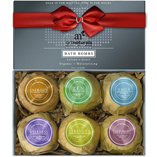 ArtNaturals Coffret cadeau de bombes de bain – (6 x 113,4 g) – Huile essentielle – Bombes de spa pétillantes – Beurre de karité naturel pour hydrater la peau sèche – Aromathérapie Relaxation dans une boîte