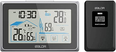BALDR Wireless Indoor Outdoor Thermometer & Hygrometer Touch Screen Digital Weather Station with Room Temperature Monitor & Humidity Gauge Meter, Extended Back-Light for Easy Viewing