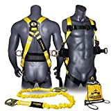 KwikSafety (Charlotte, NC) HURRICANE COMBO | 3D Back Support Full Body Safety Harness, 6' Lanyard, ANSI OSHA PPE Fall Protection Arrest Restraint Equipment Universal Construction Roofing