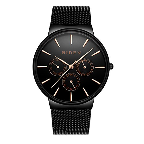 Reloj de cuarzo Biden ultrafino con pantalla de fecha y pulsera milanesa para hombre y mujer, tienda de moda minimalista negra