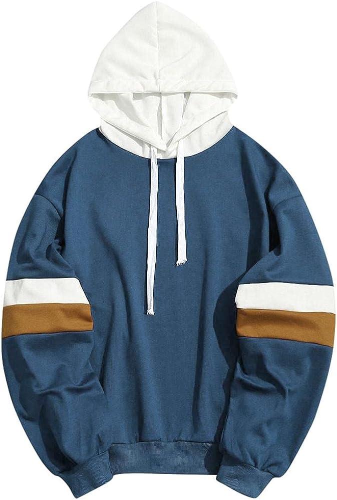 Huangse Men's Fashion Hoodie Sweatshirts for Men Pullover Long Sleeve Pullover Drawstring Patchwork Athletic Sweatshirt