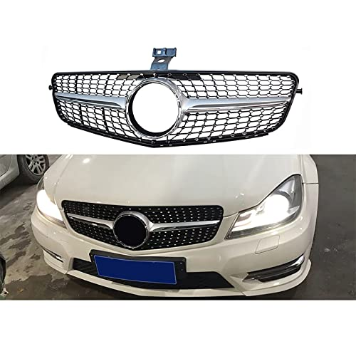 NMDNNJ Adatto per Mercedes-Benz Griglia Anteriore Classe C W204 Griglia a Diamante C180 C200 C300 C250 C350 2008-2014 con Stemma, ABS di Alta qualità, Griglia, Paraurti