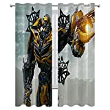 SSKJTC Blackout Curtains for Bedroom Transformers Movies Bumblebee Fighting Form Drapes for Living Room W72xL84 Inch