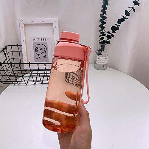 dingtian Beber botella de agua portátil estudiante de la taza con la escala a prueba de fugas plástico al aire libre viaje escuela Pink570ml