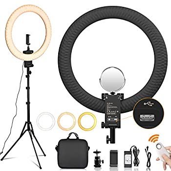 [New Version] Travor 20-INCH Ring Light Kit with Upgrade Light Stand Dimmable Bi-Color LED Light Ring with USB Charging Port Mirror Carry Bag for Camera Phone YouTube Makeup TikTok Video Shooting