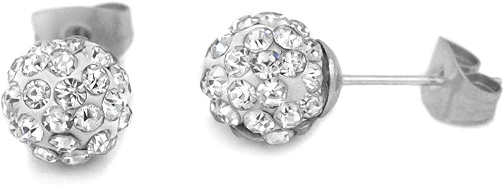 White Fire Balls Crystal Stud Earring Top Grade Stainless Steel 8 Mm