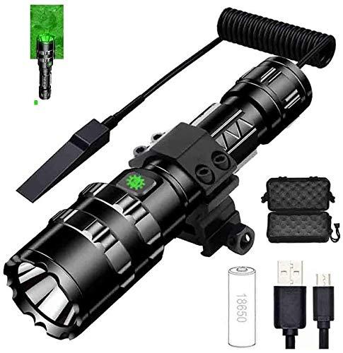 AZHom Glare Lampe de Poche L2 Super Bright Outdoor Tactics Hunting Adventure USB de Charge Mise au Point Fixe Long Shot Accueil équitation Lumières (Color : Green)
