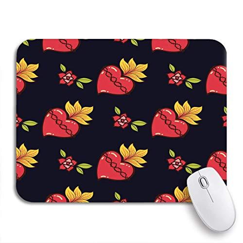 N\A Gaming Mouse Pad Red Mexican Sacred Heart Old School Love Mexico Pattern Antideslizante Respaldo de Goma Computer Mousepad para Cuadernos Alfombrillas de ratón