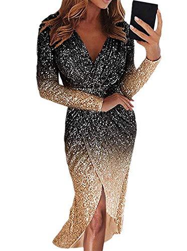 OOFAY2 Glänzend Parteikleid, Frau Flaumig Langärmeliges Mini-Abendkleid, Elegantes Kleid Urlaub Quaste, Sexy Brautkleid, Pailletten Kleider S-XXL, 7 Farben,C,L