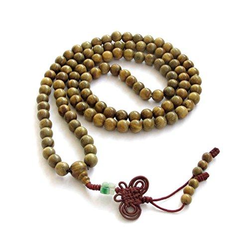 OVALBUY Green Sandalwood Beads Tibetan Buddhist Prayer Meditation Mala Necklace