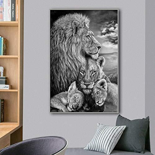 Afrikanische wilde Löwenfamilie Leinwand Malerei Schwarz-Weiß-Tier Poster und Drucke auf der Wand Bilddekoration Wohnzimmer Familie rahmenlose dekorative Malerei A57 60x80cm
