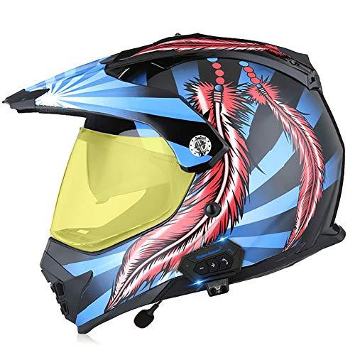 Cascos de Motocross Bluetooth Cascos modulares CertificacióN Dot/ECE Locomotora Masculina Carrera de MontañA Ciclismo Cuesta Abajo Casco Integral Gafas D,L