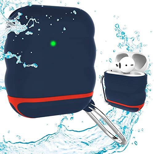 Amial Europe - Funda de Silicona [Resistente al Agua + Extra Protección] Compatible para AirPods 1 & 2 con Mosquetón [Protectora y Soporta Carga Rápida Inalámbrica] (Azul Marino)