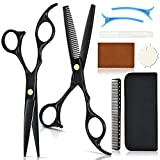 Black Hair Cutting Scissor Kit Hair Cutting Scissors Set Ladies Mens Hair Cutting Set includes Hair...