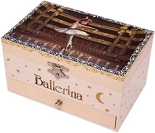 Scultura,Ballet Girl S Caja Musical Caja De Almacenamiento De Joyas con Bailarina Giratoria Niñas Pequeñas