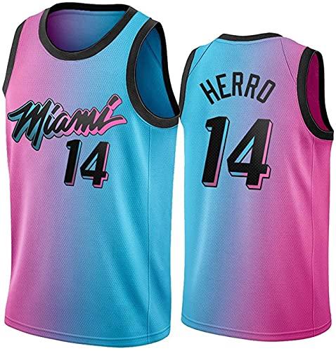ZMIN Baloncesto para Hombre NBA Jersey Vintage Miami Heat 14# Herro Transpirable Quick Secking Vestima sin Mangas Top para Deportes,Negro,XL