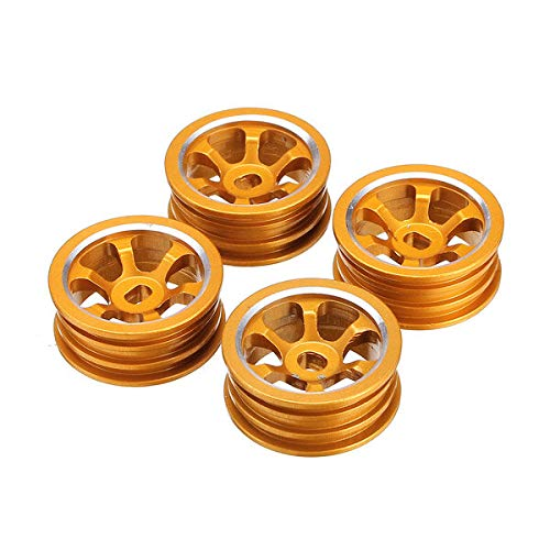 LYYCEU 1/28 Upgrade-Legierungs-Felgen 4pcs für K979 K989 Rallye Road RC-Autos (Color : Gold)