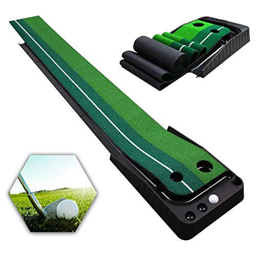 Qdreclod Golfmatte Puttingmatte Golf Indoor Büro Outdoor für zu Hause Büro Golf Übungsmatte Golf Puttingmatten Golf Putting Trainer Matte mit Auto Ball Return Funktion 3 * 0.3 M Golfübungsgeräte