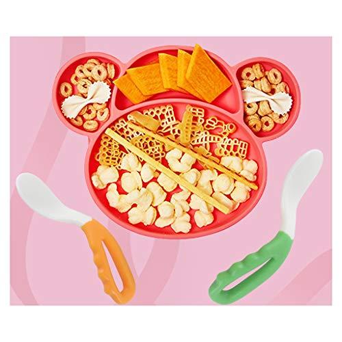 vajilla Infantil Infantil Sucker Placa de Silicona Aprendizaje de los niños del vajilla del bebé Gota a Prueba de vajilla Personalizada (Color : A)