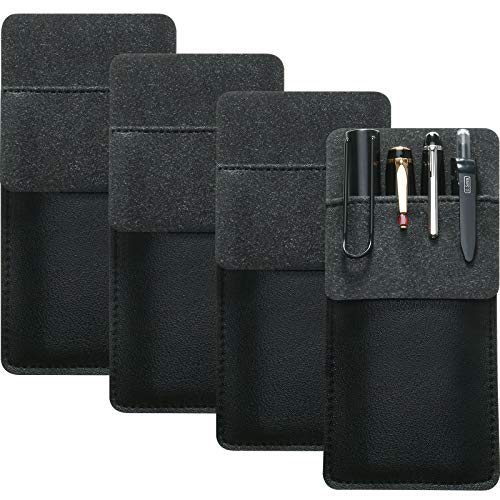 4 Packs Leather Pocket Handmade Protector Pen Holder Pouch for Lab Coats/Shirts/Pen Note, Pencil Pocket Holder for School Office Hospital Supplies (Black)