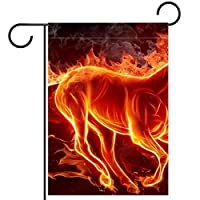 ガーデンフラッグ縦型両面 28x40in 庭の屋外装飾.火の燃える馬