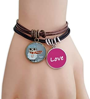 Sketching Lovely Owl Winter Night Love Bracelet Leather Rope Wristband Couple Set