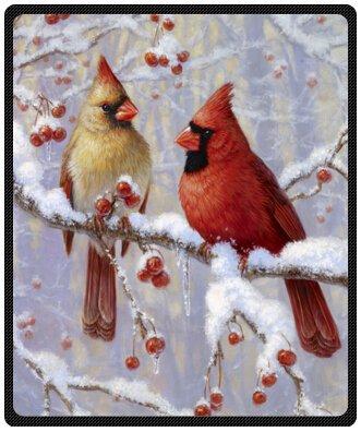 "winter cardinal Birds Eyed Royal White Cheap Blanket 50"" x 60""(Medium)"