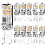 Bombilla LED G9 2W Blanco cálido 3000K Equivalente a bombillas halógenas de 15W 20W, sin parpadeo Bombillas G9, no regulables...