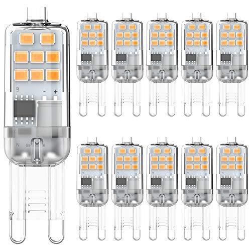G9 LED leuchtmittel 2W Warmweiß 3000K Entspricht 15W 20W Halogen lampen, kein Flimmern G9 Glühbirnen, nicht dimmbar G9 fassung Energie sparen lampe, 200LM, AC 220-240V, 10er Pack