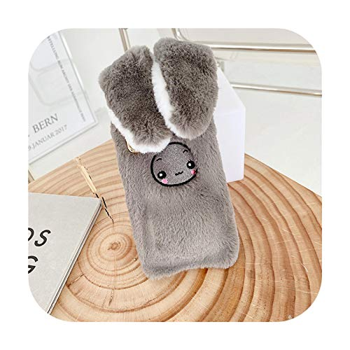 Luxury 3D Plush Mobile Phone Case With Cute Bunny Ears For IPhone 12 Mini 11 12 Pro MAX XR XS MAX 7 8Plus Fashion Phone Cover-Gray-For iPhone 11Pro MAX