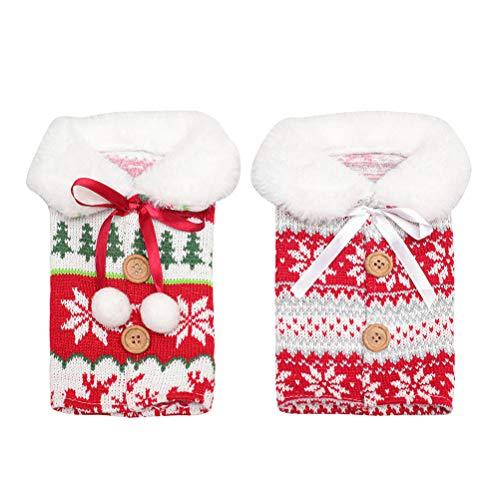 PRETYZOOM - 2 fundas para botellas de vino de Navidad para decoración...
