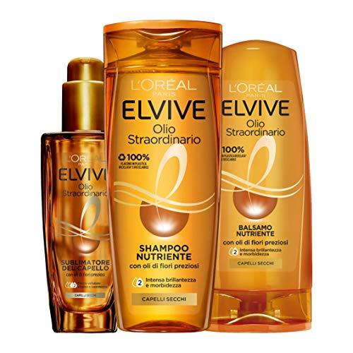 L'Oréal Paris Routine Capelli Olio Straordinario, Box con Shampoo Nutriente, Balsamo Nutriente e Olio Sublimatore per Capelli Secchi, Confezione da 3