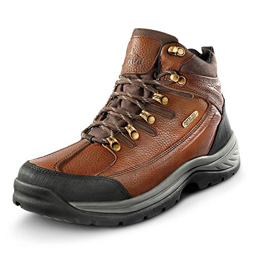 NORTIV 8 Men's Leather Waterproof Hiking Boots Mid Ankle Trekking Mountaineering Outdoor Boots Brown Litchi Size 13 M US Hiker