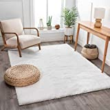 Shimmer Shag Snow White Solid Plain Modern Luster Ultra Thick Soft Plush Area Rug 5 x 7 ( 5'3' x 7'3' ) Contemporary Retro Polyester Textured Two Length 2' Pile Yarn Easy Clean Stain Fade Resistant