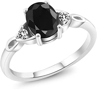 Gem Stone King Sterling Silver Black Sapphire & White Diamond Women's 3 Stone Ring 1.73 cttw (Available 5,6,7,8,9)