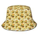 GodYo Bucket Hat Packable Reversible Hamburguesa y Papas Fritas Imprimir Sun Hat Fisherman Hat Cap Camping al Aire Libre
