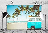 BELECO 9x6ft Tropical Beach Backdrop Vintage Car in Beach with Surfboard Summer Hawaii Phtography Backdrop for Luau Party Decoration Birthday Banner Photoshoot Photo Background Props