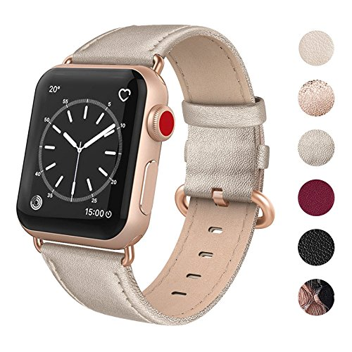 SWEES Leather Band Compatible for iWatch 38mm 40mm, Genuine Leather Replacement Strap Rose Gold Buckle Compatible iWatch Series 5 4 3 2 1, Sports & Edition Women Champagne