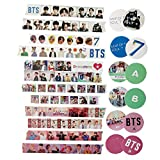 BTS Washi Tapes Pack Army Gift Wrapping Tape School Supplies Paper Stickers Kit Kpop Stationary Scrapbook for Bullet Journal