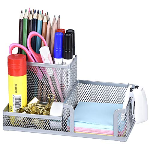Comix Silver Pen Holder, Mesh Office Supplies Accessories Caddy with Sticky Notes Holder, Desk Organizer for Home, Office and School