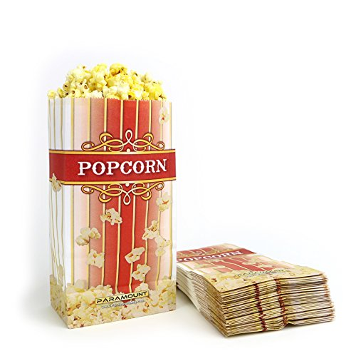 100 Popcorn Serving Bags - 'Small' Standalone Flat Bottom Paper Bag Style