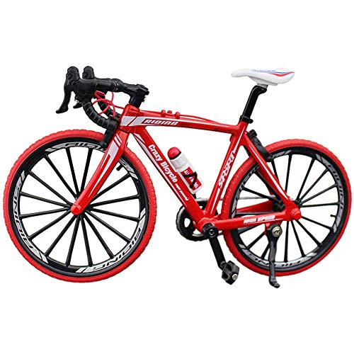 Ganquer Coleccion Decoración Diecast Juguetes Mini Bend Bicicleta Modelo Carreras Bici Montaña Bicicleta - Rojo, Free Size