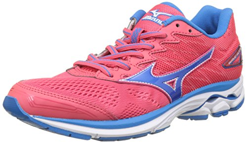 Mizuno Wave Rider W, Zapatillas de Running para Mujer, Multicolor (Paradisepink/blueaster/White), 37 EU