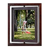 Roponan Rotating Photo Frame, Double Sided Wood Picture Frame, 5'' x 7'' Rotary Photo Frame, Dark Brown Vintage Swivel Picture Frame for Family Desktop